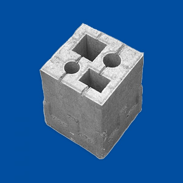 Zaun Fundament Stein 1 in 4 Größe: 19 x 19 x 25 cm grau